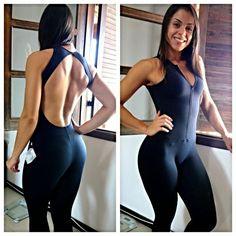Moda para malhar|Macacão Zíper Frontal Costas Abertas - LudFit | Moda Fitness | Roupa para ginástica