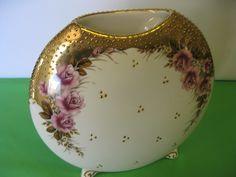 Greek Porcelain Vase White Gold, Pink Floral Footed 24K Gold Vase Made in Greece #teamsellit  #bonanza