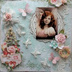 Blue Fern Studios Design Team Layout By Renea Harrison created with the Vintage Christmas Paper Collection, Ruth's Doily Chipboard and Christmas Blooms Flowers.