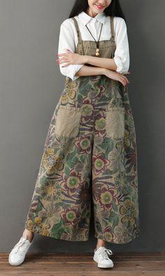 Women's Jeans Wide Leg Denim Overalls for Women Plus Size Print Vintage Loose Elegant Rompers Womens Jumpsuit Combinaison Femme Wide Leg Denim, Wide Leg Pants, Loose Pants, Rompers Women, Jumpsuits For Women, Winter Jumpsuits, Vintage Overall, Outfit Vestidos, Modele Hijab