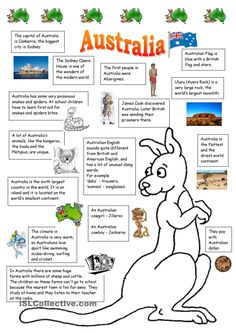 The handout I made for my students for a lesson about Australia. I got the information from wikipedia and from some worksheets posted here. The most useful were Vanda´s, Katie´s and Helene Monge´s ones, so thanks for sharing them with us. Australia School, Australia For Kids, Australia Crafts, Australia Slang, Australia Animals, Melbourne Australia, Australia Travel, English Primary School, Teaching English