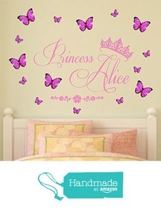 Personalized name, Princess, Vinyl Wall Art Sticker, Mural, Decal with tiara and personalized 3D butterflies. Children's bedroom, nursery, playroom decor from Fabulous Wall Art Stickers https://www.amazon.com/dp/B06XXVV6GL/ref=hnd_sw_r_pi_dp_CZE3yb4GRF4GK #handmadeatamazon