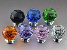 1.2  inches Diameter Sparkle  Purple Glass Crystal Knobs Diamond / Kitchen Cabinet Knobs Pulls Handles / Dresser Drawer Knob Hardware