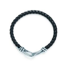 Paloma Picasso® Knot single braid bracelet of sterling silver and black leather, | Tiffany & Co.