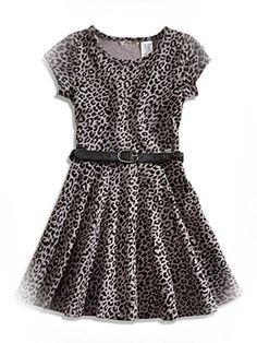 Guess Little Girls Gray & Black Leopard Print Dress W/Belt (2T) GUESS Kids