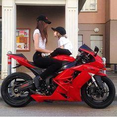 red Kawasaki ninja Motorcycle and biker Motorcycle Couple, Motorcycle Bike, Lady Biker, Biker Girl, Biker Photoshoot, Motorbike Girl, Sportbikes, Cool Motorcycles, Biker Chick