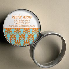Carter (Mod Damask) - 50 CUSTOMIZABLE Round Calling Cards/ Business Cards in Tin by PoshGirlBoutique