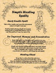 Simple Healing Spells BOS Page Book of Shadows Page Rare Wiccan Spells Healing Books, Healing Spells, Magick Spells, Candle Spells, Candle Magic, Fertility Spells, Hoodoo Spells, Magick Book, Healing Meditation