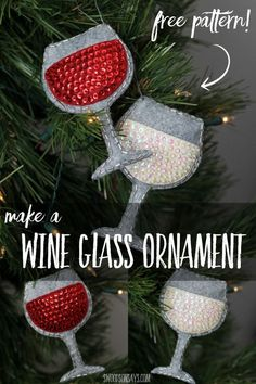 Free sewing pattern for a felt wine glass ornament to make the perfect DIY gift for the wine lover in your life! Pair it with a bottle of wine for the perfect hostess gift. Sponsored post with Sutter Home Wines. Free wine glass pattern - diy christmas gift for wine lovers - diy sequin ornament #diyornament