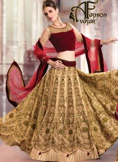 Womens Pretty A Line Lehenga Style in Dark Cream Color With Crystals Work Dupatta.Add grace and charm on your appearance in this wonderful Dark Cream Net Unstitched Lehenga Choli. This attire is nicely made with Stones & Fancy Embellishments work.