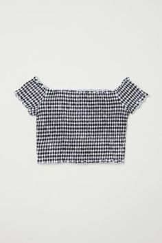 Short, smocked, off-the-shoulder top in cotton jersey with short sleeves and overlocked edges. H&m Kids, Off Shoulder Crop Top, Short Tops, Smocking, Shirt Style, Short Sleeves, Crop Tops, Clothes, Accessories