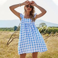 Women Spaghetti Strap Spring Dress Plaid Square Collar | Etsy Cheap Dresses, Blue Dresses, Summer Dresses, Dress P, Plaid Dress, Spaghetti Strap Dresses, Ruffle Trim, Gingham, Fashion News