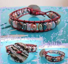 Freshwater pearl terracotta leather wrap bracelet by So cliché jewelry  https://www.facebook.com/soclichejewelry
