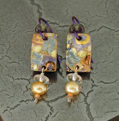 Small Porcelain Rectangle Dangle Earrings in by LocalTexture, $24.00