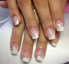 ideas nails art french blanche ongles for 2019 Square Nail Designs, French Nail Designs, Gel Nail Designs, Simple Gel Nails, French Tip Gel Nails, Trendy Nail Art, Stylish Nails, Sparkle Gel Nails, Bride Nails