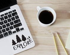 Laptop Sticker, Explore Sticker, Adventures Decal, Hiking Sticker, Forest Decals, Tree Decal, Stickers Macbook, Explore Quote,  240