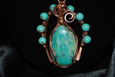 Chrysacolla and turquoise Necklace by MallardRockNWireArt on Etsy, $60.00