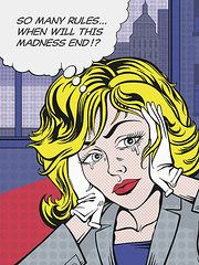 """Comic Girls Say.. """"So many rules.when will this madness end! """" #comic #popart Print by Dennis Wunsch"""