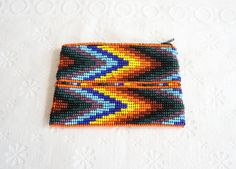 Glass Beaded Coin Purse, Vintage Change Purse Wallet