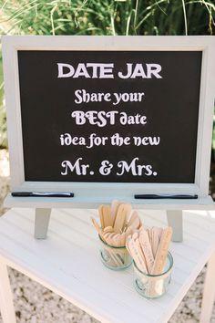 Date jar wedding idea: http://www.stylemepretty.com/new-jersey-weddings/2016/01/11/glamorous-private-estate-beach-wedding/   Photography: Kay English - http://www.kayenglishphotography.com/