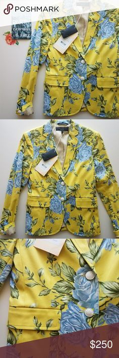 """rag & bone floral blazer New with tags  Light shoulder pads Blue rose pattern over canary yellow  23"""" length 23"""" sleeves 16"""" pit to pit buttoned rag & bone Jackets & Coats Blazers"""