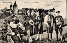 Ansichtskarte / Postkarte Altenburg in Thüringen, Schloss, Altenburger Bauerntrachten #Altenburg