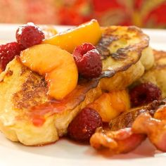 French Toast with Peaches and Raspberries