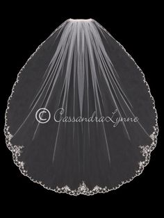Pearl Bridal Veil with Silver Embroidery from Cassandra Lynne