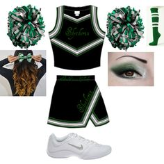 Slytherin Cheerleader by haleymsl on Polyvore featuring NIKE