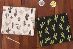 "Cactus Fabric, Cactus Pattern, 44""x35"", 100% Cotton 20s Oxford, Scandinavian Fabric, Cactus Print, 2 Colors - KoreaBacol [#D0007]"