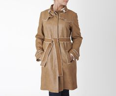 Elie Tahari super soft leather trench with cream trim detail