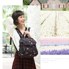 Black Square Sweet Japan and Korean Style Nylon Floral Travel Backpacks for Ladies(Free Shipping)