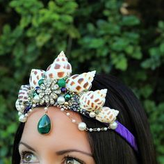 New purple, green, and gold seashell crown! I love these colors together!