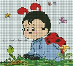 Schemi coccinelle lacky e ebrry - idee a punto croce. Cat Cross Stitches, Counted Cross Stitch Patterns, Cross Stitch Charts, Cross Stitch For Kids, Cross Stitch Animals, Afghan Patterns, Knitting Patterns, Cute Bee, Plastic Canvas Patterns