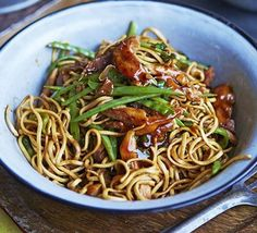 Chow mien: A classic Chinese dish of stir-fried egg noodles with shredded chicken breast - experiment with different fish, meat, or vegetables