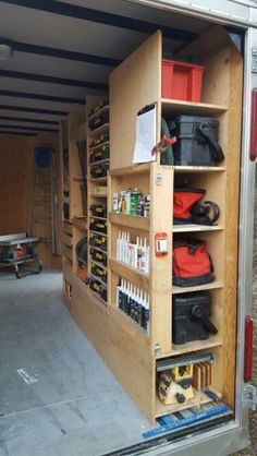 of 8 BEST PLANNED WORK TRAILER. Starting at the top: plumbing toolbox next Dewalt toolbox for demolition next bags with cordless jig saw drills circular saw multitool etc next general toolbox with hammer and driver drill drill and spade bit Trailer Shelving, Van Shelving, Trailer Storage, Truck Storage, Garage Tool Storage, Van Storage, Storage Ideas, Garage Racking, Work Trailer