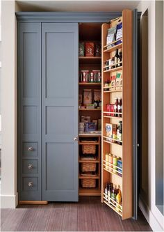 built in pantry, beautiful slate blue color                                                                                                                                                                                 More