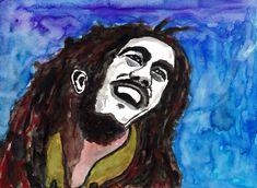 """Bob Marley"", watercolouron paper, 30 x 40 cm Bob Marley, Watercolour, Portraits, Paper, Pen And Wash, Watercolor Painting, Watercolor, Head Shots, Portrait Photography"