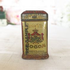 RARE Antique Droste Cocoa Dutch tin litho Box, Free Sample Size, Vintage Advertising, w/ hinged lid, can canister, storage container