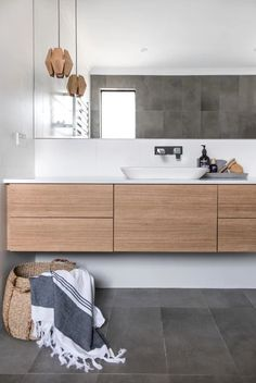 Vanities Sink Ideas - Floating Vanity - Rustic Modern Luxury - Modern Farmhouse Vanity Sink - Two Small Bathroom Sink Vanity - Built-in Vanities Sink Laundry In Bathroom, Bathroom Renos, Bathroom Flooring, Bathroom Renovations, Home Renovation, Small Bathroom, Shower Bathroom, Wooden Bathroom Vanity, Bathroom Vanities