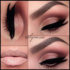 Gold and Peach Shimmer Smokey Eye Makeup - Winged Eyeliner - Lashes - Brows - Nude Lips