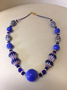 Collana di perle - glass beads - necklace - perle soffiate - blown glass - lampwork -  conterie - murano - murano glass necklace di Sanmarcoartedesign su Etsy