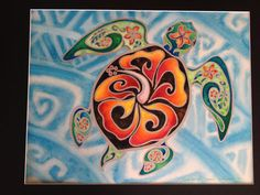 Nani Honu Original Tropical mar tortuga Art  Honu  Tortuga