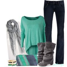 """Mint and Grey"" by athorpe on Polyvore"