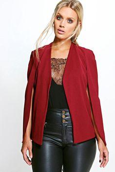 7e0a4d3fe71 Plus Natalie Cape Detail Blazer. Plus Size CoatsPlastic ...