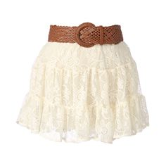 Belted Crochet Skirt ❤ liked on Polyvore featuring skirts, mini skirts, bottoms, saias, faldas, women, crochet skirt, belted skirt and crochet mini skirt