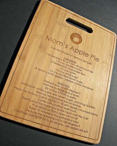 Custom Engraved Recipe Bamboo Board donated by @Jaime @ Mom's Test Kitchen, Starting Bid $10