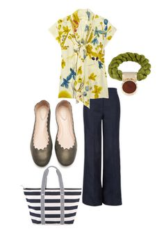 Love the print of the top, but hesitant about the tie.  Love the pants and flats.