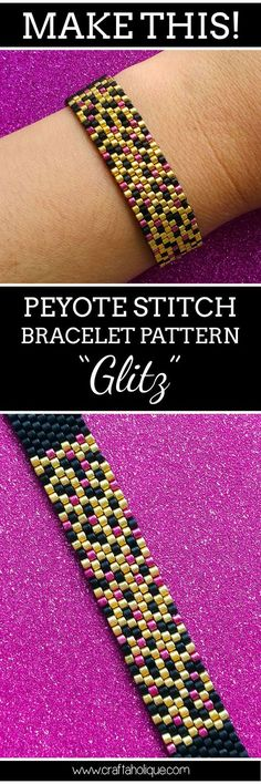 My latest peyote stitch bracelet pattern is perfect for beginners! Glitz is a very glamorous piece of wrist candy - read about the pattern on Craftaholique.