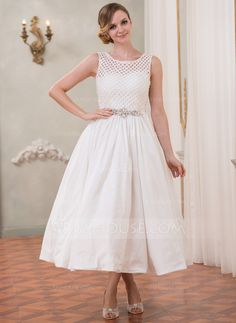 Wedding Dresses - $169.99 - A-Line/Princess Scoop Neck Tea-Length Taffeta Lace Wedding Dress With Beading Sequins (002050389) http://jjshouse.com/A-Line-Princess-Scoop-Neck-Tea-Length-Taffeta-Lace-Wedding-Dress-With-Beading-Sequins-002050389-g50389